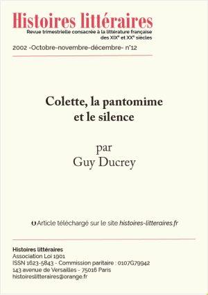 Page de garde de Colette la pantomime et le silence