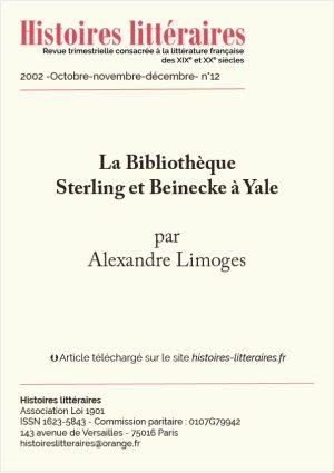 Page de garde de la Bibliothèque Sterling et Beinecke