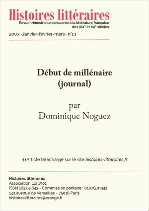 Page titre de journal de Dominique Noguez