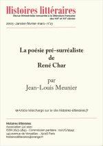 La poésie pré-surréaliste<br/>de René Char