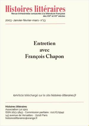 page de titre entretien avec François Chapon
