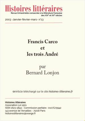 page de titre Francis Carco et les trois André