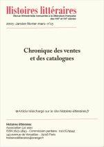 Chronique<br/>des ventes et des catalogues du n°13