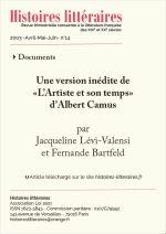 """Une version inédite de<br/>""""L""""Artiste et son temps""""<br/>d'Albert Camus"""