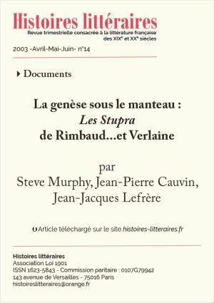 Page de titre des Stupras de Rimbaud