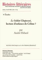 <em>Le soldat Chapuzot</em>,<br/>lecture d'enfance de Céline ?