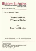 Lettres inédites<br/>d'Édouard Dubus