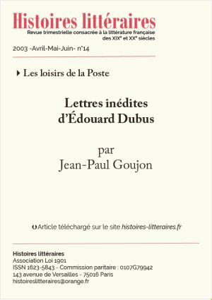 page de titre Edouard Dubus