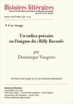"""Un indice précaire<br/>ou l'énigme du<br/>""""Billy Record"""""""