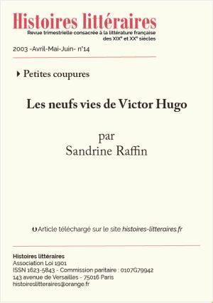 Page de titre neuf vies de Victor Hugo