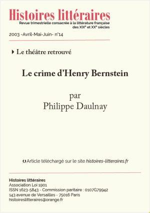 Page de titre de crime d'Henry Bernstein