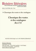 Chronique des ventes<br/>et des catalogues du n°14