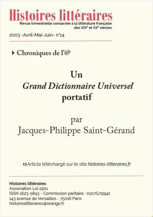 Page de titre un grand dictionnaire universel