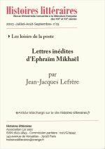 Lettres inédites<br/>d'Ephraïm Mikhaël