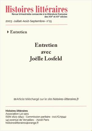 page de garde entretien avec Joëlle Losfeld