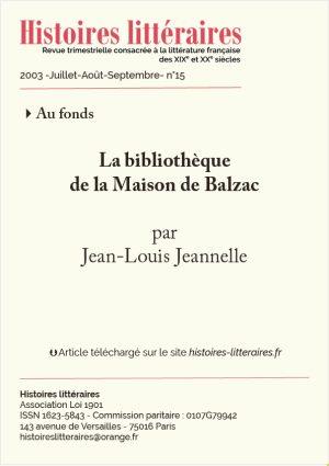 page de garde Maison Balzac