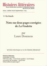 Notes sur deux pages corrigées<br/>de <em>La Vendetta</>