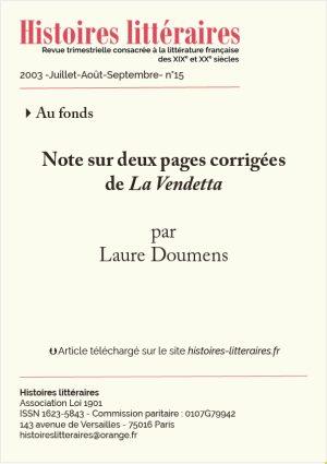 page de garde sur deux pages corriges de La Vendetta