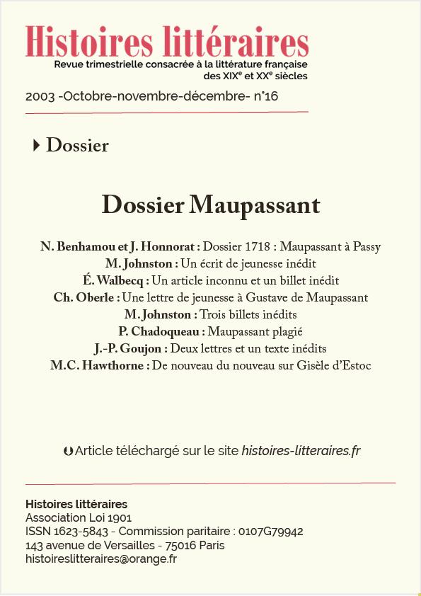 Dossier Maupassant Du N 16 8 Articles