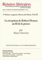 La réception de Robert Desnos<br/> au fil de la presse