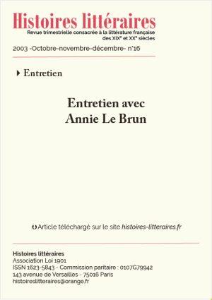 Page de garde entretien avec Annie Le Brun