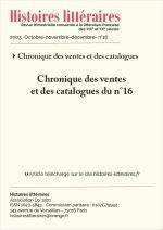 Chronique des ventes<br/> et des catalogues du n°16