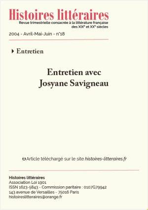Page de garde entretien avec Josyane Savigneau
