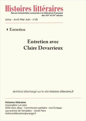 Page de garde entretien avec Claire Devarrieux