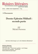 Dossier Éphraïm Mikhaël : seconde partie