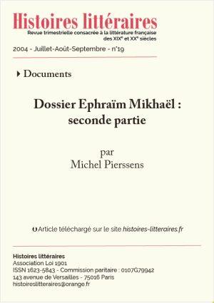 page de garde dossier Ephraïm Mikhaël