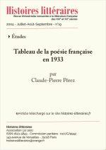 Tableau de la poésie française en 1933