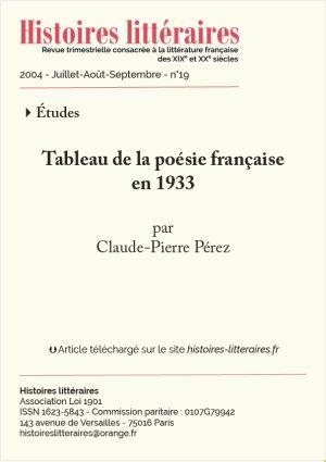 page de garde tableau de la poésie française en 1933