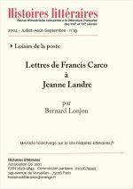 Lettres de Francis Carco <br/>à Jeanne Landre