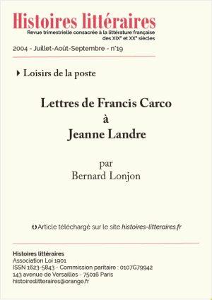 Page de garde Lettres de Francis Carco