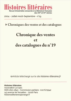 PAGE DE GARDE CHRONIQUE DES VENTES