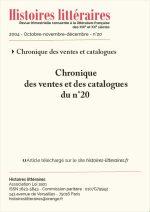 Chroniques des ventes et des<br/> catalogues du n°20