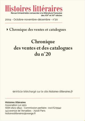 Page titre Chronique des ventes et des catalogues