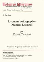 L comme lexicographe :<br/>Maurice Lachâtre