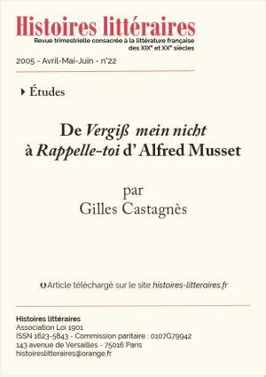 Page titre article sur Alfred de Musset du HL 22