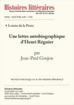 Une lettre autobiographique d'Henri Régnier
