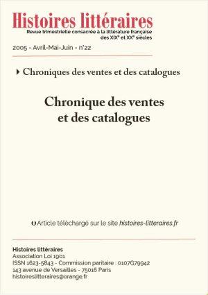 page titre chronique des ventes