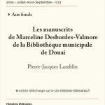 Les manuscrits de Marceline Desbordes-Valmore de la Bibliothèque municipale de Douai