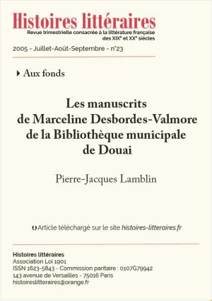 Couverture manuscrits de Marceline Desbordes-Valmore