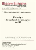 Chronique des ventes et des catalogues du n°23