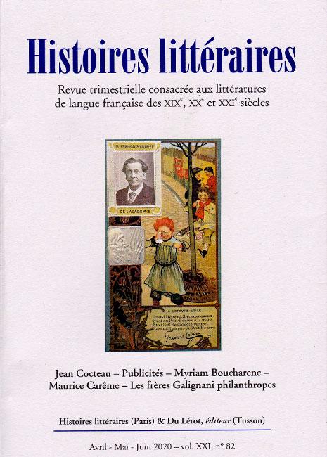 Histoires littéraires n°82 avril-mai-juin2020