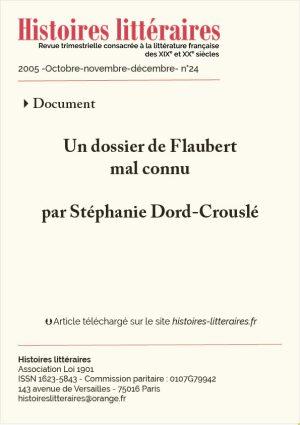 Couverture HL-2005-24-02-un dossier Flaubert mal connu