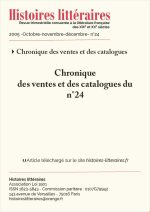 Chronique des ventes et des catalogues du n°24