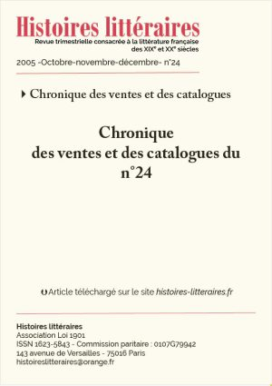 couverture HL-2005-24-06-chroniques des ventes