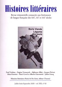 Histoires littéraires n°83 juillet-août-septembre 2020