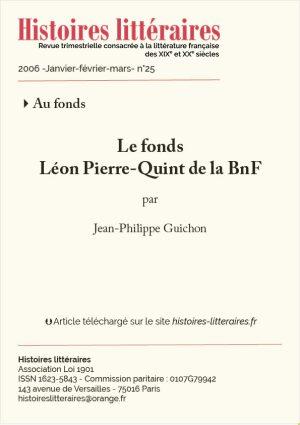 page titre fonds Léon Pierre-Quint